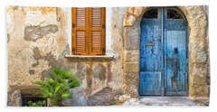 Mediterranean Door Window And Vase Hand Towel by Silvia Ganora
