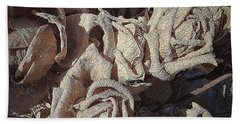 Hand Towel featuring the tapestry - textile Memory Rose 2 by Andrew Drozdowicz