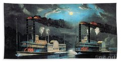 Midnight Race On The Mississippi 1854 Bath Towel