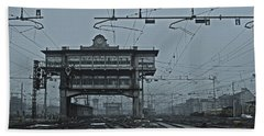 Bath Towel featuring the photograph Milan Central Station Italy In The Fog by Andy Prendy