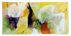 Modern Art With Yellow Black Red And Fanciful Clouds Bath Towel