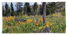 Montana Wildflowers Bath Towel by Athena Mckinzie