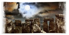 Moon Over Stonehenge Bath Towel