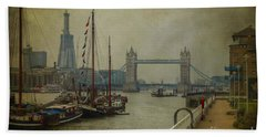 Hand Towel featuring the photograph Moored Thames Barges. by Clare Bambers
