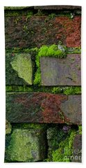 Bath Towel featuring the digital art Mossy Brick Wall by Carol Ailles