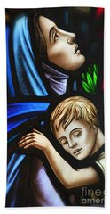 Mother And Child Stained Glass Hand Towel