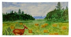 Bath Towel featuring the painting Mother Deer And Kids by Sonali Gangane