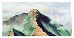 Bath Towel featuring the painting Mountain  1 by Yoshiko Mishina