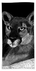 Hand Towel featuring the mixed media Mountain Lion by Kume Bryant