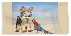 Mouthy Parrot Hand Towel by Phyllis Kaltenbach