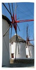Mykonos Windmills Bath Towel by Carla Parris