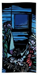 Nativity Stained Glass Hand Towel by Methune Hively