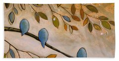 Bath Towel featuring the painting Nature Birds Painting...peaceful Garden by Amy Giacomelli