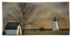 Ned's Point Light Hand Towel by Robin-Lee Vieira