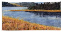 Hand Towel featuring the painting Nestucca River And Bay  by Chriss Pagani