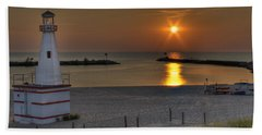 New Buffalo City Beach Sunset Hand Towel