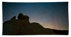 Night Sky Over Valley Of Fire Hand Towel