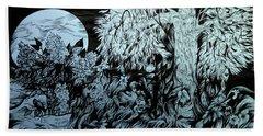 Nightingale Night Hand Towel by Anna  Duyunova