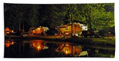 Nighttime In The Campground Bath Towel by Kay Lovingood