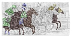 Odds Are - Tb Horse Racing Print Color Tinted Bath Towel