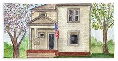Hand Towel featuring the painting Ohio Cottage With Flag by Clara Sue Beym