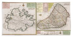 Old Map Of English Colonies In The Caribbean Bath Towel