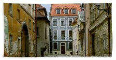 Hand Towel featuring the photograph Old Street In Bratislava by Les Palenik