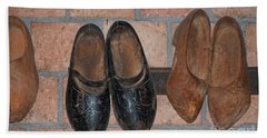 Bath Towel featuring the digital art Old Wooden Shoes by Carol Ailles