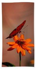 Orange Butterfly Orange Flower Bath Towel