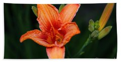 Hand Towel featuring the photograph Orange Lily by Davandra Cribbie