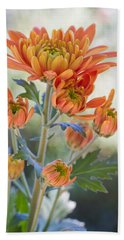 Orange Mums Hand Towel by Heidi Smith