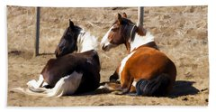 Painted Horses I Hand Towel by Angelique Olin