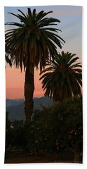 Palm Trees And Orange Trees Hand Towel