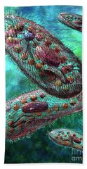 Hand Towel featuring the digital art Paramecium by Russell Kightley