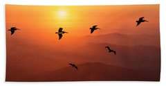 Hand Towel featuring the photograph Pelican Migration by Chris Lord