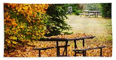 Picnic Table With Autumn Leaves Hand Towel
