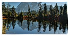 Picture Lake - Heather Meadows Landscape In Autumn Art Prints Hand Towel by Valerie Garner