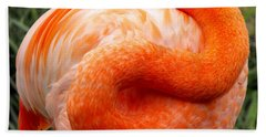 Bath Towel featuring the photograph Pink Flamingo Sleep by Rebecca Margraf