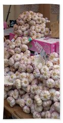 Bath Towel featuring the photograph Pink Garlic by Carla Parris