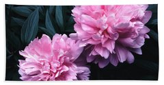 Pink Peony Pair Hand Towel by Tom Wurl