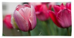 Pink Tulips With Water Drops Hand Towel