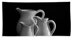 Pitchers By The Window In Black And White Bath Towel by Sherry Hallemeier