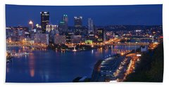Pittsburgh In Blue Hand Towel