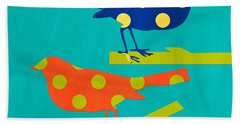 Polka Dot Birds Hand Towel
