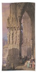 Porch Of Regensburg Cathedral Hand Towel