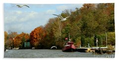 Hand Towel featuring the photograph Port Dover Harbour by Barbara McMahon