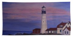 Bath Towel featuring the painting Portland Head Lighthouse At Dawn by Julie Brugh Riffey