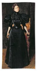 Portrait Of A Lady In Black Hand Towel