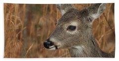 Portrait Of  Browsing Deer Bath Towel