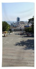 Potemkin Stairs And Passenger Terminal - Odessa Bath Towel